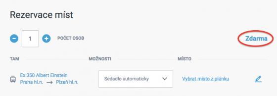 Výběr rezervace místenky v e-shopu ČD