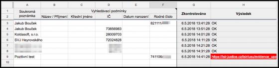 Ukázka tabulky vyhledávače insolvenčních řízení