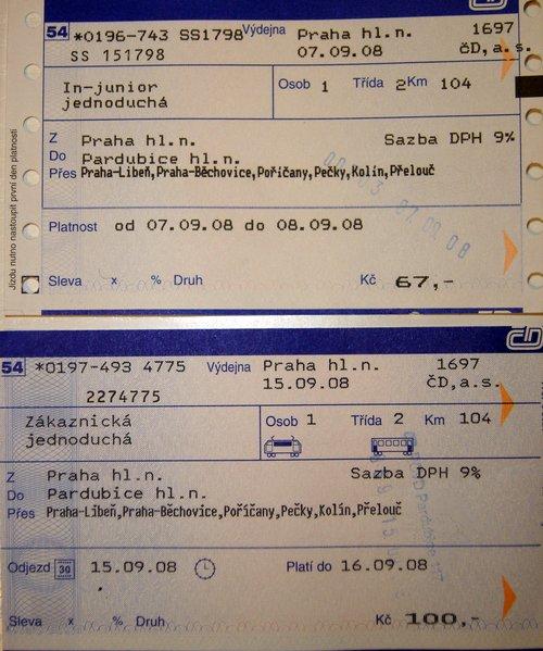 Jedna trasa, dvě jízdenky, dvě ceny