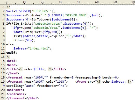 PHP skcript pro zpracování domény