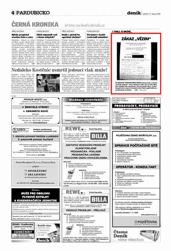 Strana 4. deníku ze dne 17. 10. 2008. Zdroj: epaper.denik.cz